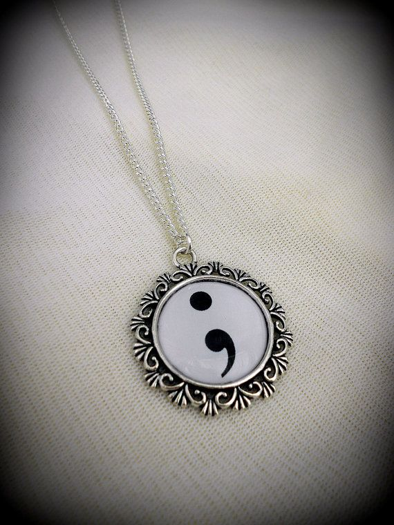 Mental Health Symbol Semi Colon Necklace by BaroquenChord on Etsy