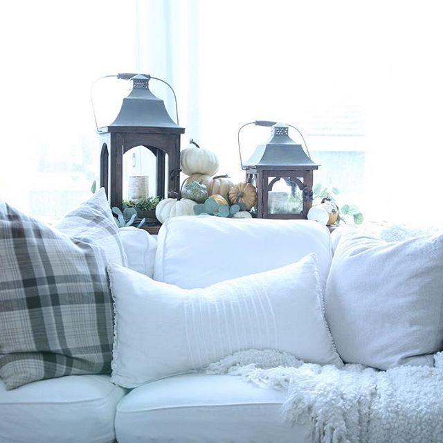 White furniture, pottery barn throw pollows, pottery barn lanterns, autumn décor, pumpkins, family room, throw pillows.