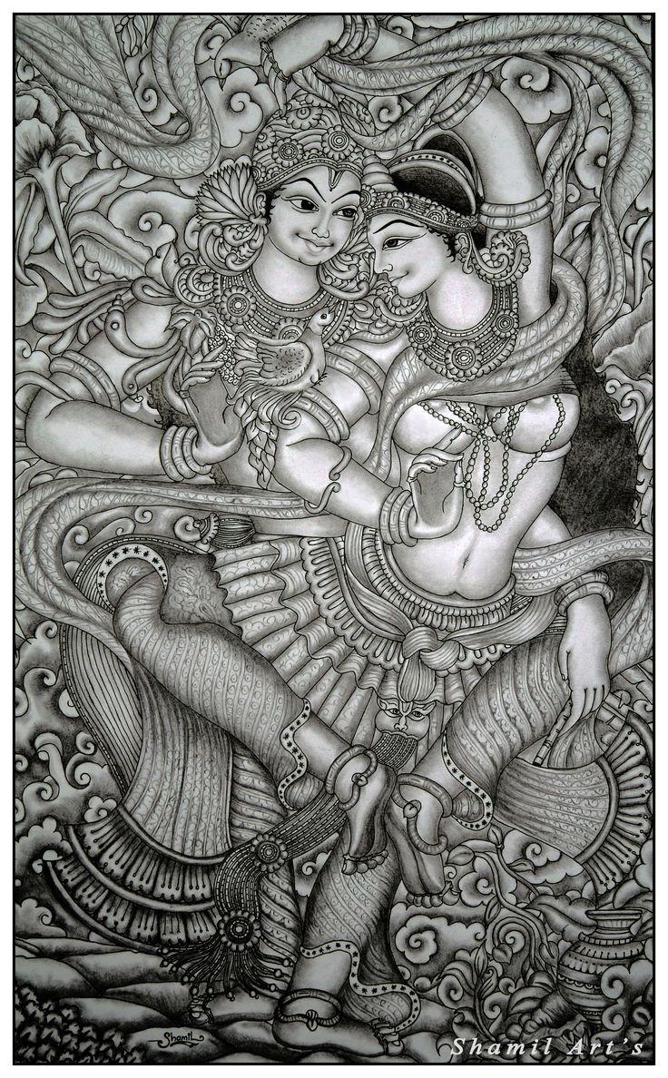 Radha Krishna mural pencil drawing by Shamilart