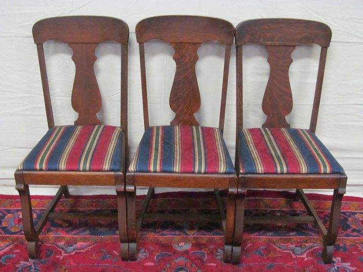 Set Of 6 Victorian Tiger Oak T Back Dining Chairs