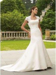 Tiara Satin Lace Queen Anne Neckline Open Back Bodice A-line Wedding Dress