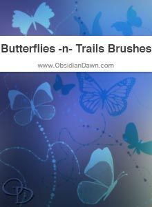 """Obsidian Dawn Photoshop & GIMP Brushes - Butterflies -n- Trails (various butterfly shaped brushes, in a vector style, as brushes -- also includes glittery """"trails"""" to show the butterfly's path in a stylized way)"""