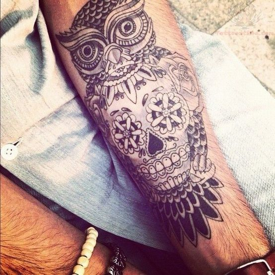 Sugar Skull and Owl Tattoo: Skulls, Tattoo Ideas, Skull Tattoo, Sugar Skull Tattoo, Owltattoo, Tattoo'S, Owl Tattoo, Owls, Ink