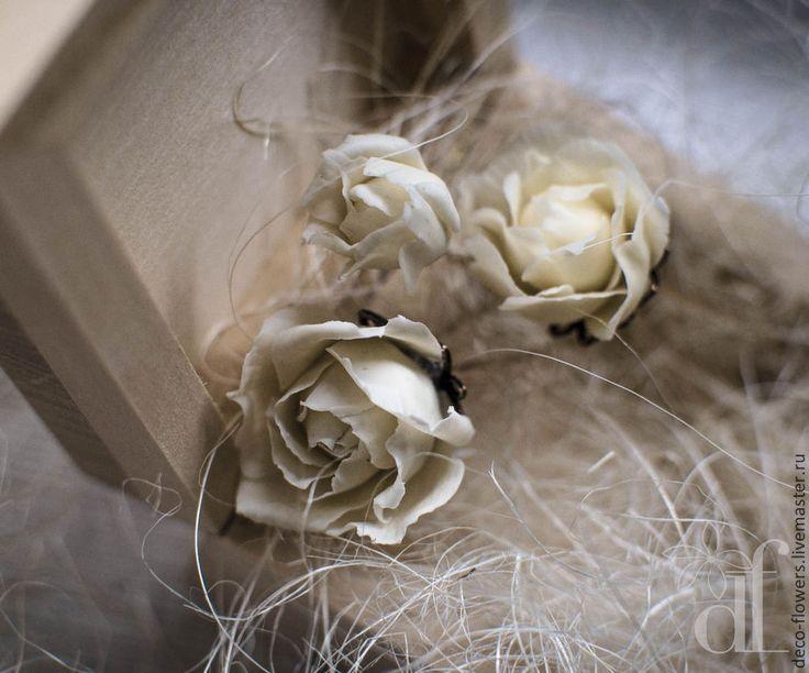 """Купить Шпильки для прически """"Винтажные розы"""" - бежевый, шпильки, шпильки для волос, шпильки для невесты"""