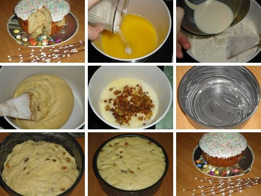 Пасхальный кулич Ингредиенты: для теста: 400 г муки 100 г сливочного масла 100 г сахара 1/2 стакана молока 2 яйца (1 белок оставим для глазури) 1 упаковка дрожжей 100 г изюма 1/2 ч.ложки соли для глазури: 1яичный белок 200 г сахарной пудры посыпка — цветной сахар + сливочное масло для смазывания формы Способ приготовления: 1. …