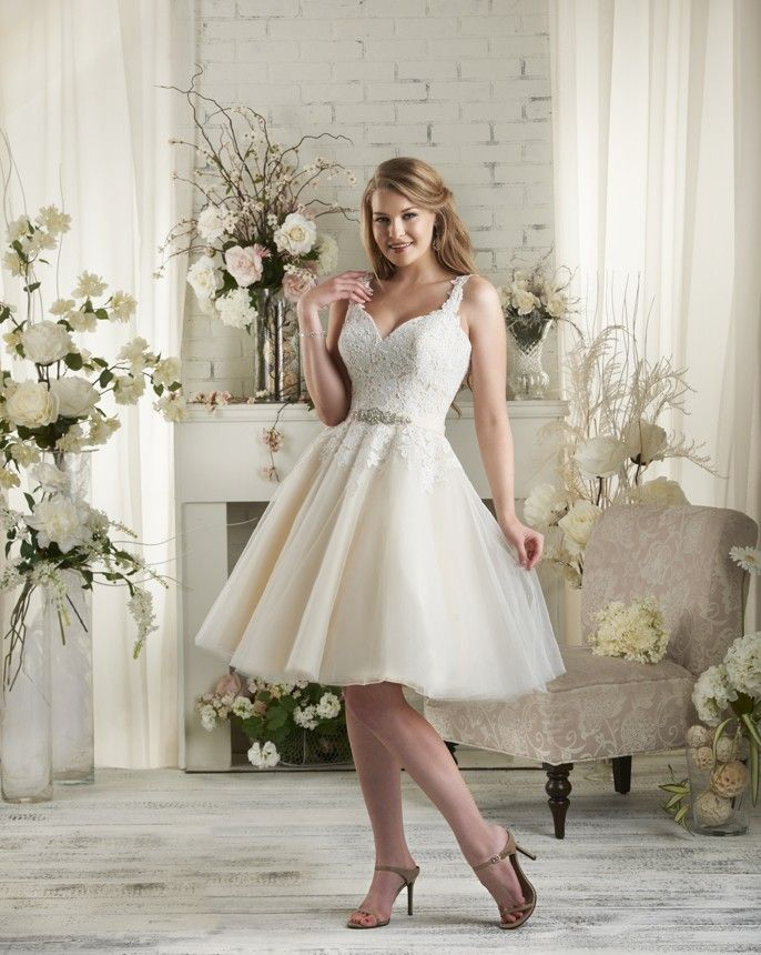 Stunning  Bonny by Bonny Bridal Cute lace and tulle knee length wedding gown