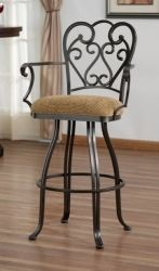 """Tempo Veronica 30"""" Swivel Bar Stool with arms and metal back"""