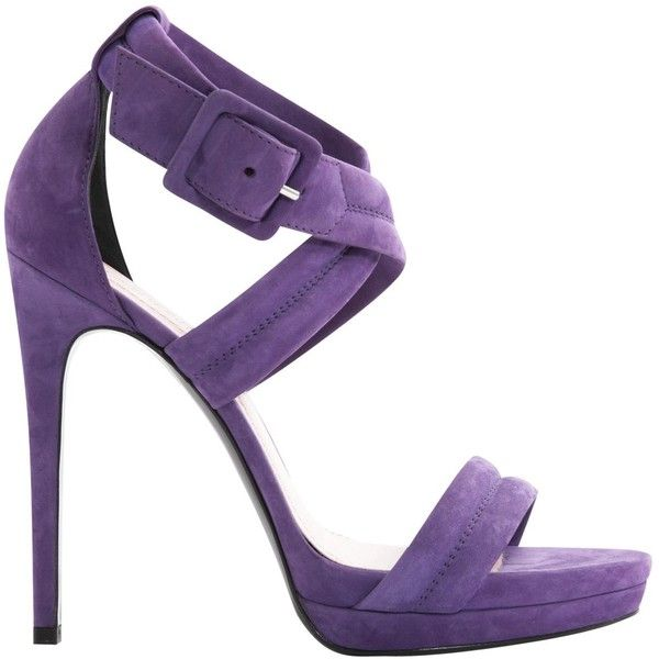 Pre-owned Barbara Bui Leather Sandals ($246) ❤ liked on Polyvore featuring shoes, sandals, purple, women shoes sandals, purple platform shoes, cross strap sandals, purple shoes, leather sandals and leather shoes