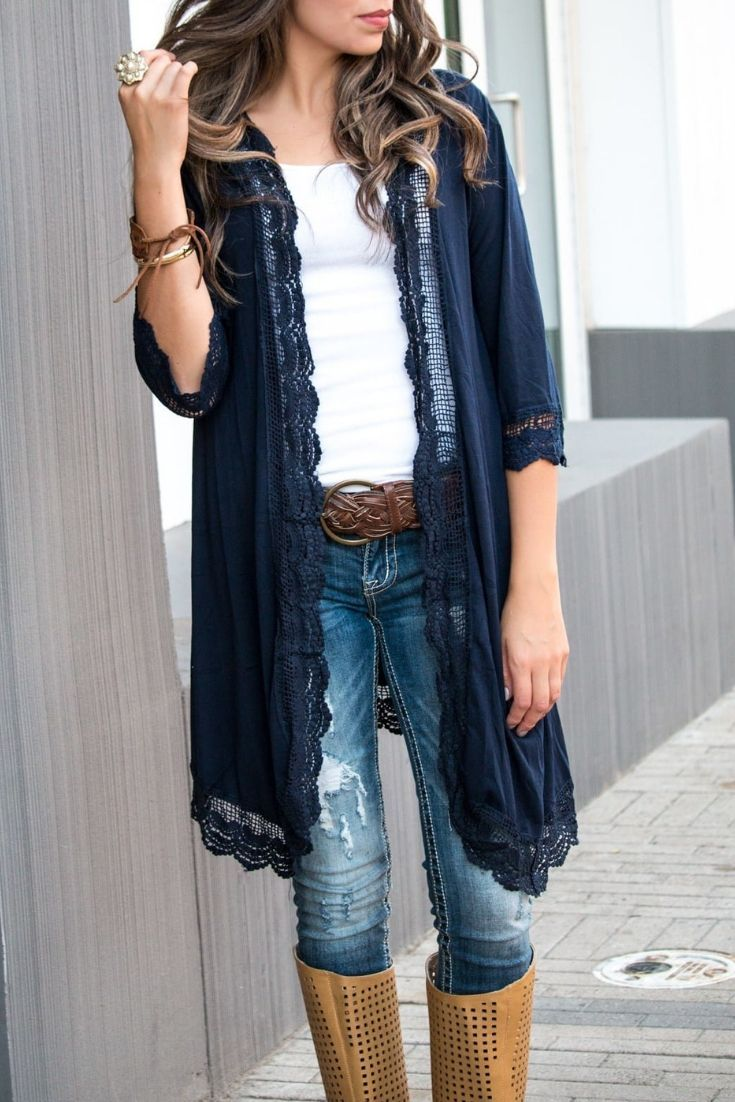 love this lace trimmed cardigan #style #clothes #fashion #closet #wardrobe #fall…