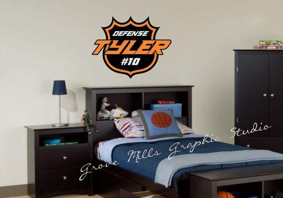 Hey, I found this really awesome Etsy listing at https://www.etsy.com/listing/126657800/hockey-wall-decal-custom-hockey-wall