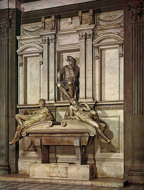 Michelangelo - Tomba di Lorenzo de' Medici duca di Urbino - complesso scultoreo e architettonico in marmo - 1524-1534 - Sagrestia Nuova in San Lorenzo a Firenze.
