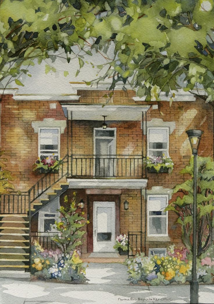 """Typical view of a home in the city of Montreal Quebec.   Watercolour 11"""" X 15"""""""