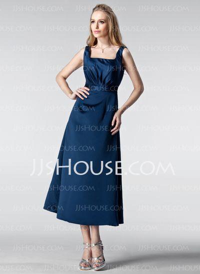 Bridesmaid Dresses - $92.99 - A-Line/Princess Square Neckline Tea-Length Satin Bridesmaid Dress With Ruffle (007005178) http://jjshouse.com/A-Line-Princess-Square-Neckline-Tea-Length-Satin-Bridesmaid-Dress-With-Ruffle-007005178-g5178