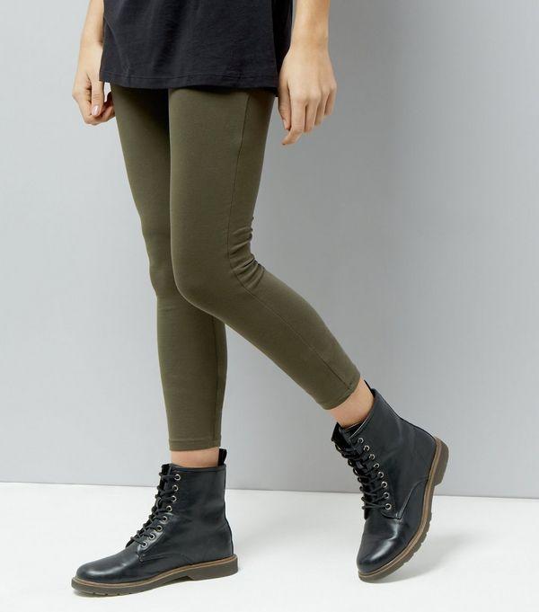 Khaki High Waist Leggings    New Look