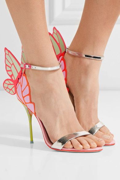 Heel measures approximately 100mm/ 4 inches Silver patent-leather, multicolored leather Buckle-fastening ankle strap Designer color: Orchid & Spearmint