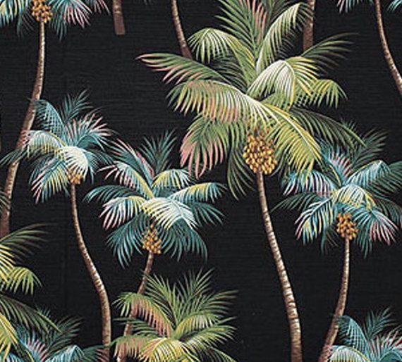 Available End Of November High Quality Palm Tree Upholstery Fabric Black Tropical House Fabric Bedding Curtains