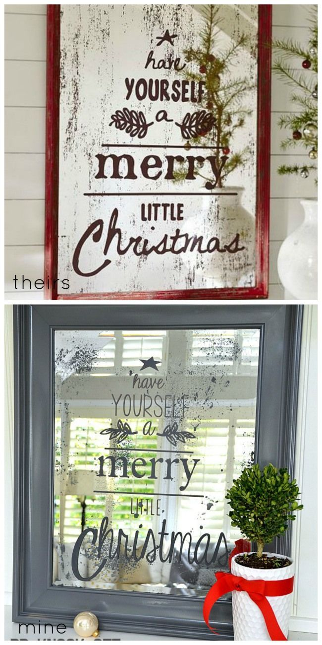 pottery barn inspired DIY Christmas mirror. #HolidayIdeaExchange