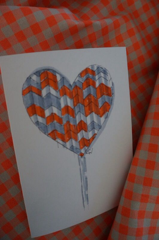 """NEW!  """"POP-Heart"""" from """"Hearts + Arrows"""" collection.  Limited Edition.  Each card is individually hand-coloured in fluoro brights!  $7 each. Designed by Claire Webber, Hobart, Tasmania  For enquiries email: webberclaire@gmail.com"""
