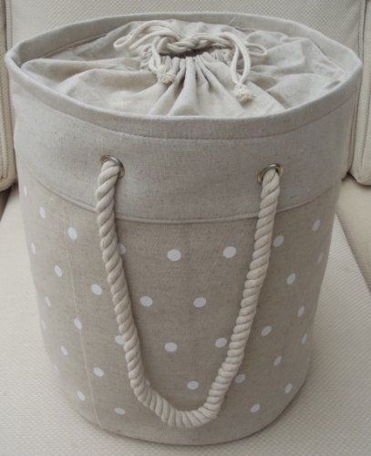 Small Calico soft storage Toy store or collapsible linen, laundry bag fully lined with tie top cream polka dot