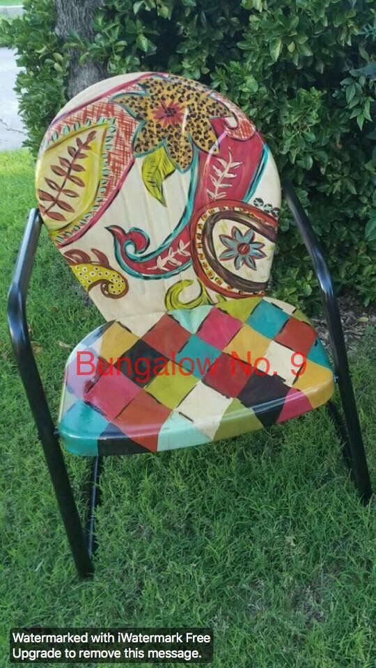 make your cheep gardenchair like this love the paint job patio furniture