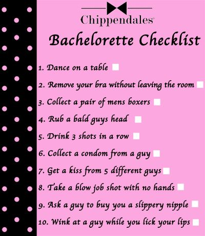Bachelorette Checklist