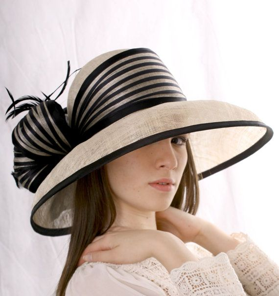 Ivory with black Ascot extra wide brim hat,Kentucky derby hat, Wedding Special Event Tea Party hat, Melbourne cup hat, 20's Gatsby style hat