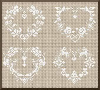 various hearts, cross stitch