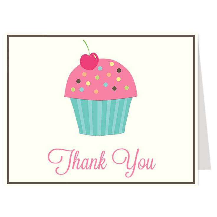 Cupcake Sprinkle Girls Thank You Card