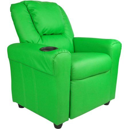 Flash Furniture Kids' Vinyl Recliner with Cupholder and Headrest, Multiple Colors, Green