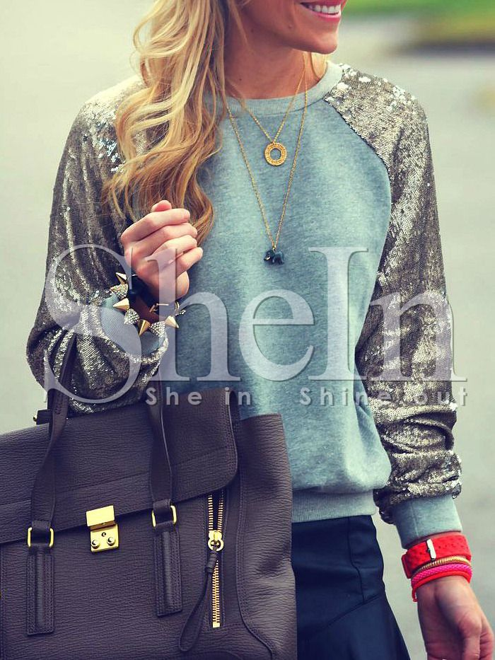 Green Silver Long Sleeve Sparkely Glittery Cozy Costume Sequined Sweatshirt 17.99