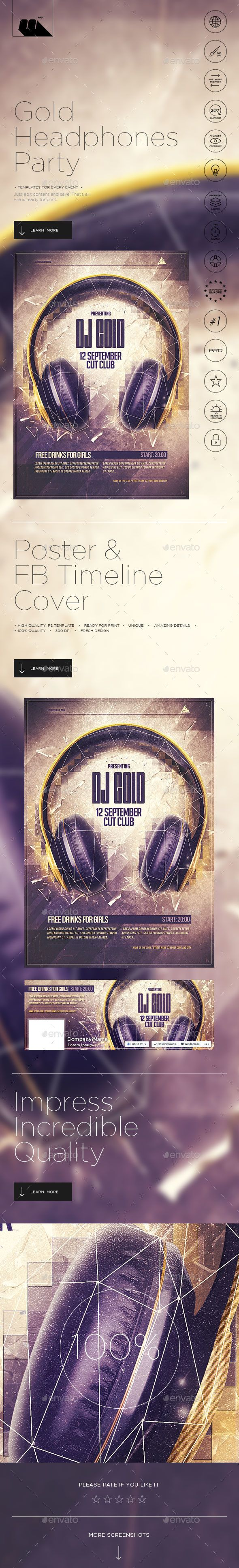 Gold Headphones Poster