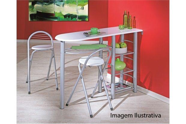 Mesa frida em metal branco com 2 banquetas interlink for Mobilia kitchen table
