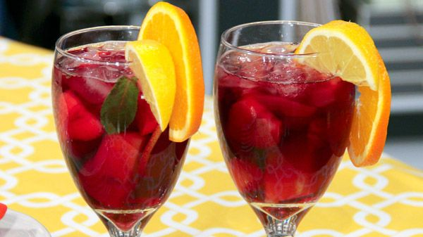 Strawberry Melon Sangria | Steven and Chris | Sangria is always a crowd pleaser, and this bright, fruity version from Chef Lynn Crawford is no exception. Serves 6-8 Ingredients 1 750 ml bottle of dry red wine, such as Chianti 2 ounces Brandy 2 ounces orange liquor, such...