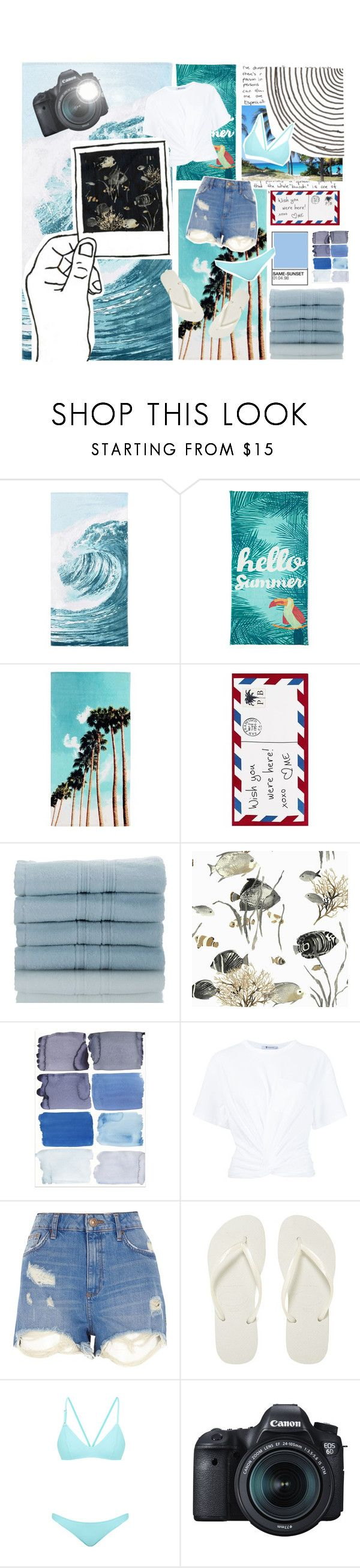"""""""Island getaway"""" by blacknwhitmay ❤ liked on Polyvore featuring PBteen, Outdoor Oasis, Pottery Barn, Nordstrom Rack, T By Alexander Wang, River Island, Havaianas, Bower, Eos and islandgetaway"""