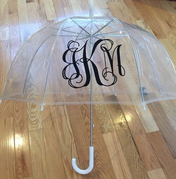 Custom Monogram Clear Umbrella Dome Monogrammed Birthday Gift Valentine Gift Christmas Gift