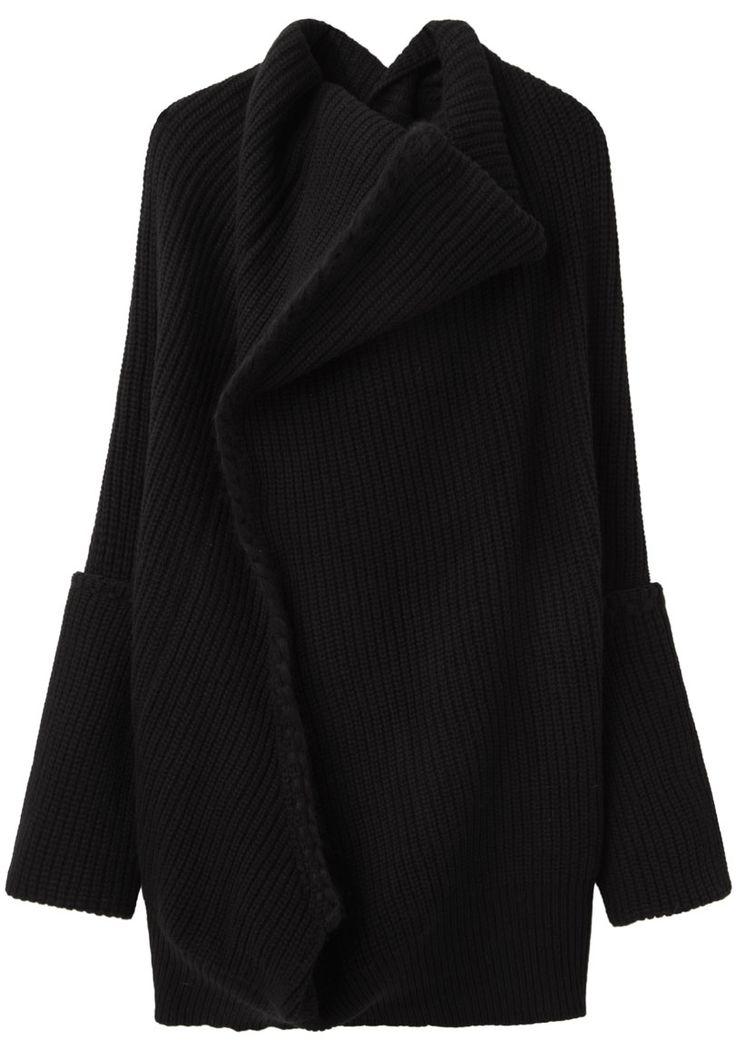 YOHJI YAMAMOTO, BLANKET STITCH KNIT: oversized everything including a giant cowl collar.