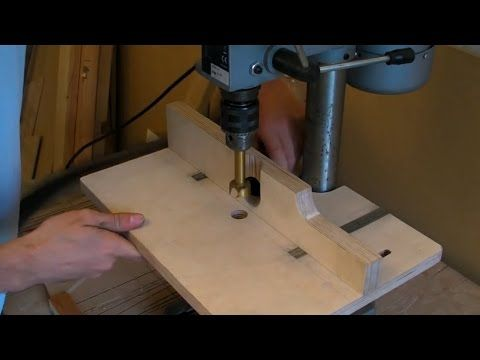 Building A Pillar Drill / Drill Press Table (adjustable fence, extraction hose & inlaid rulers) - YouTube