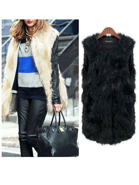 cool Women Fashion Sleeveless Mixed Color Imitation Fur Jacket Vest