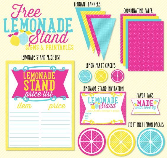 FREE Lemonade Stand Signs and Printables by Love The Day