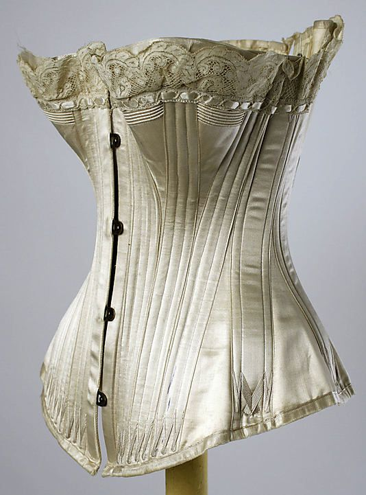 Corset of silk and metal by Maison Leoty, circa 1891. Metropolitan Museum of Art