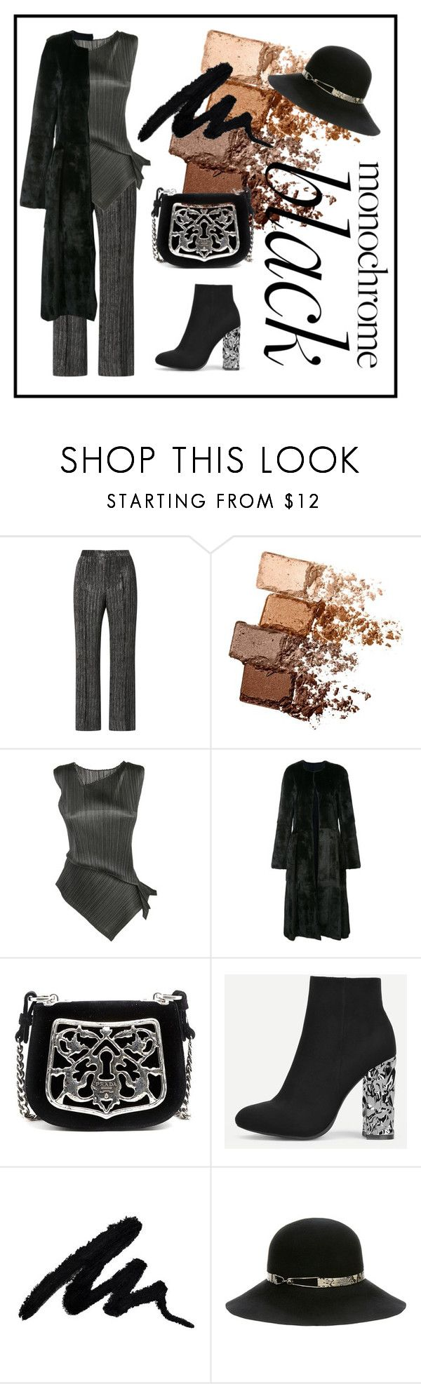 """""""#14 Mission Monochrome: All-Black Outfit"""" by natahaya ❤ liked on Polyvore featuring Isabel Marant, Maybelline, Pleats Please by Issey Miyake, Oscar de la Renta, Prada, Eugenia Kim, monochrome, contest, blackoutfit and allblackoutfit"""