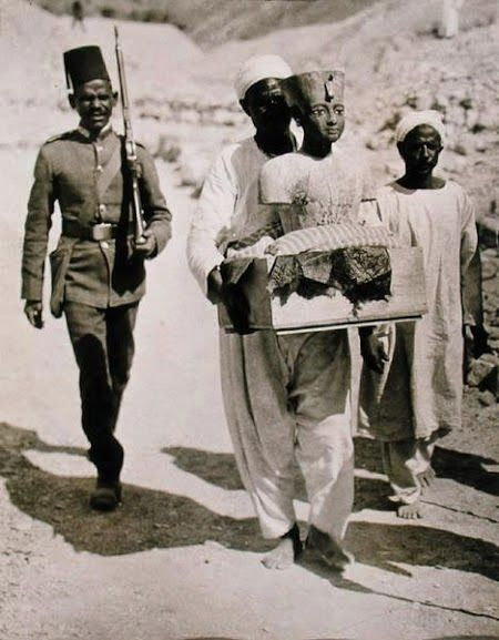 Bust of Tutankhamun Being Transported while from His Tomb in the Valley of the Kings in 1922