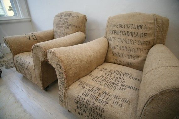 Chairs upholstered in vintage bean bags, used to transport coffee exports. Maybe a little itchy to sit in, but very cool to look at.