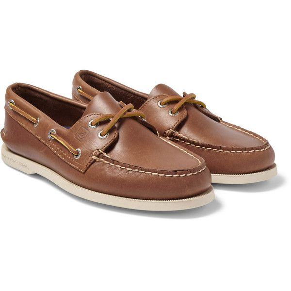Sperry Top-Sider Authentic Original Leather Boat Shoes (£65) ❤ liked on Polyvore featuring men's fashion, men's shoes, men's loafers, mens brown leather shoes, mens brown shoes, mens leather deck shoes, mens brown boat shoes and mens boat shoes