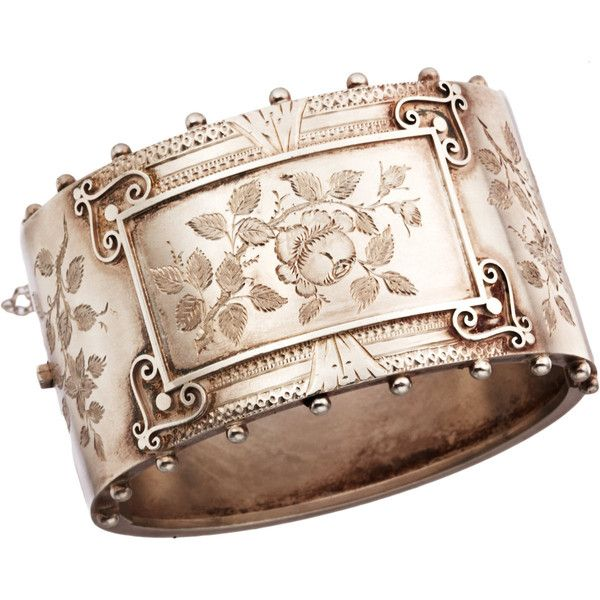 Olivia Collings Antique Jewelry Silver Floral Bangle ($1,515) ❤ liked on Polyvore