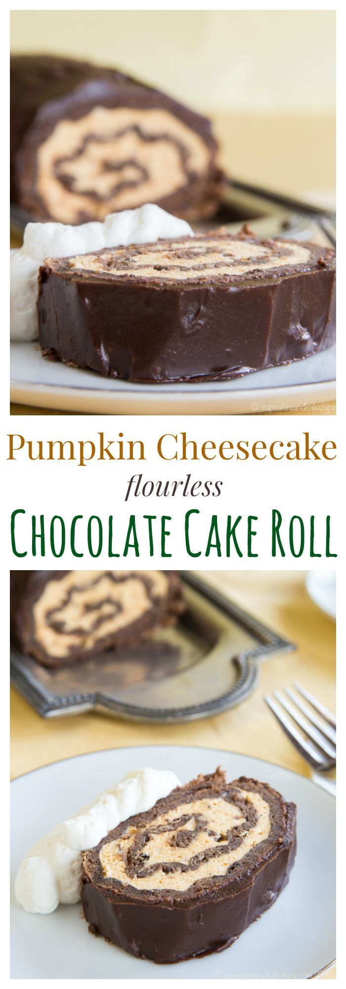 Pumpkin Cheesecake Flourless Chocolate Cake Roll - an impressive dessert for fall with pumpkin cheesecake mousse, chocolate sponge cake, and rich chocolate ganache. #PumpkinWeek | cupcakesandkalechips.com | gluten free recipe