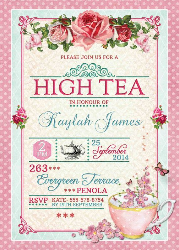 Best 25 High tea invitations ideas – Invitation for Tea Party
