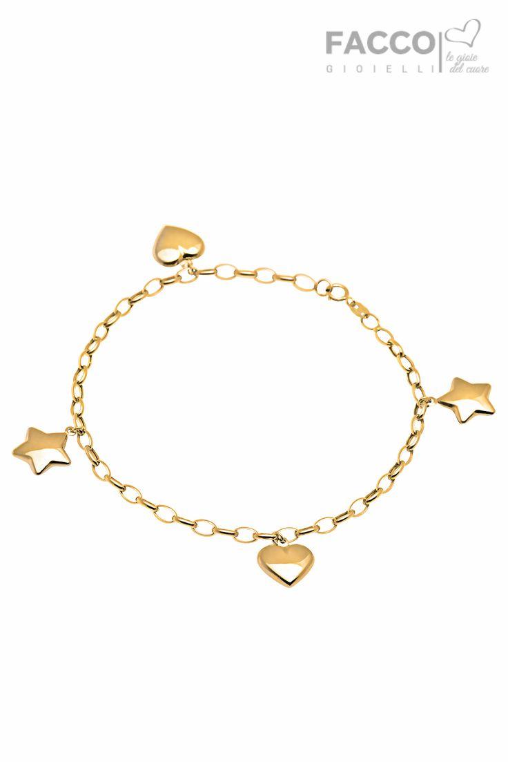 Bracciale donna, Facco Gioielli, in oro giallo 750‰, pendenti stelle e cuori.