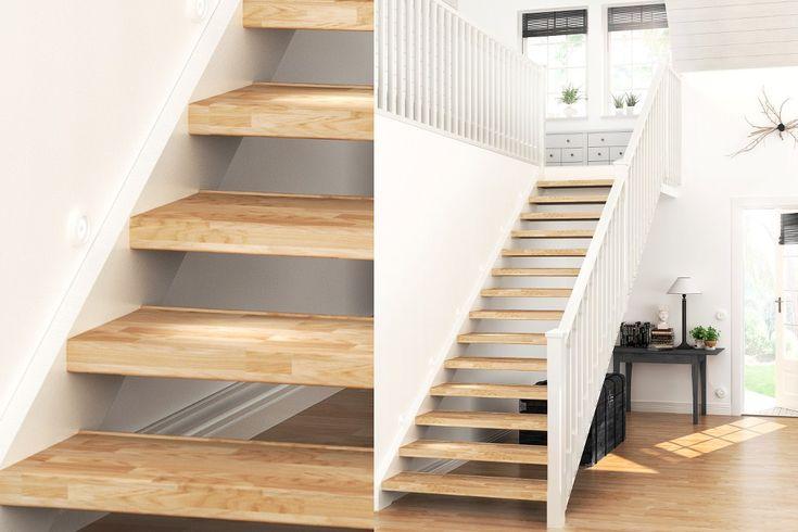 Lundbergs trapprenovering i en rak och öppen trappa med lackad ek steg i serien CLASSIC.  Se hela guiden på http://www.lundbergs.com/sv-se/guider/renovera-trappan