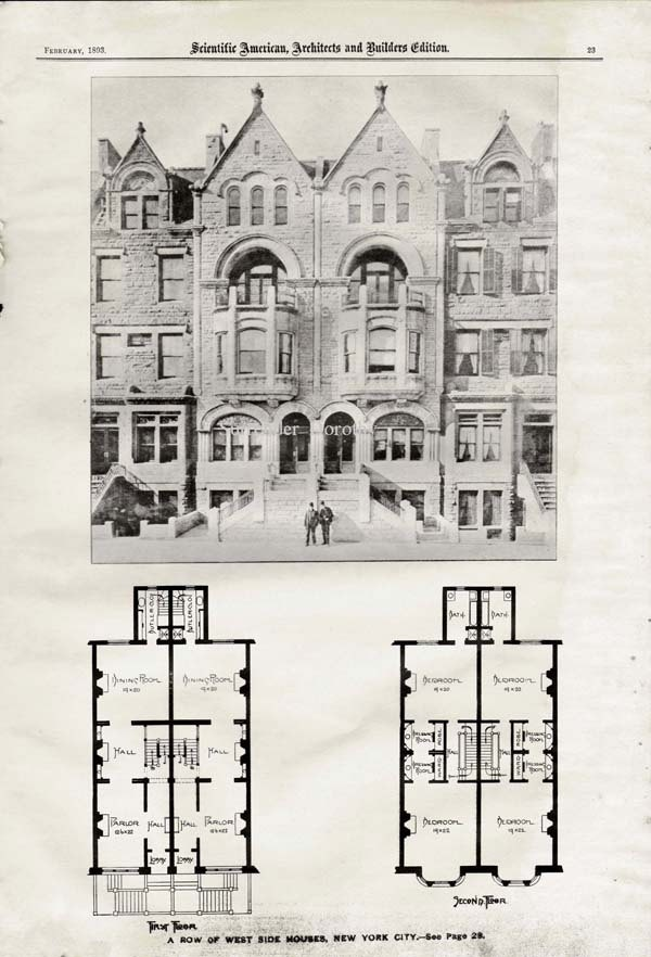 Charming Brownstone Row Houses West Side New York USA 1893 Steampunk Vintage  Victorian Architecture Illustration For Framing